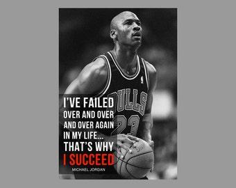 Michael Jordan Quote Poster Basketball Print - Success - Inspirational, Sports, motivation, faith, Icon