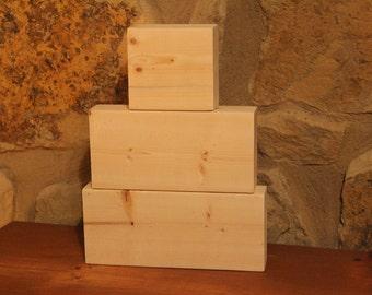 Unfinished Stacking Blocks, Unfinished Wood Block Trio, DIY Craft Blocks, Plain, Unpainted, 3 Wood Blocks