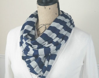 Infinity Scarf with Navy and Gray Stripes, Loop Scarf, Jersey Knit, Fashion Infinity Scarf