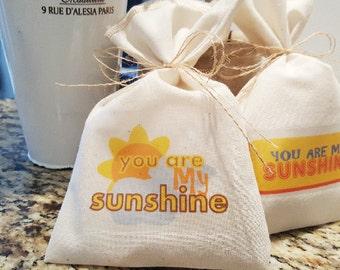 Muslin Favor Bag, You Are My Sunshine, Fabric Bag, 5 x 8, Birthday Favor Bag, Baby Shower Favor Bag, Choose Design