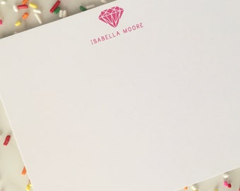 Diamond Personalized Stationary - Baby Girls Stationery Set of 20 Flat Note Cards Thank You Notes