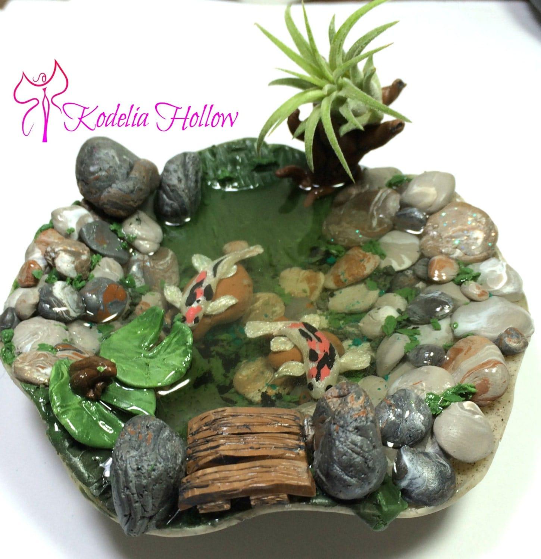 Koi pond polymer clay dollhouse miniature garden pond for Miniature koi fish