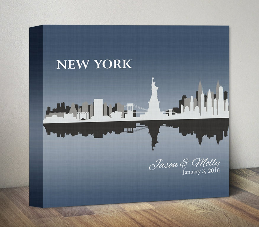 New york skyline wedding gift personalized new york city for Gifts for new yorkers