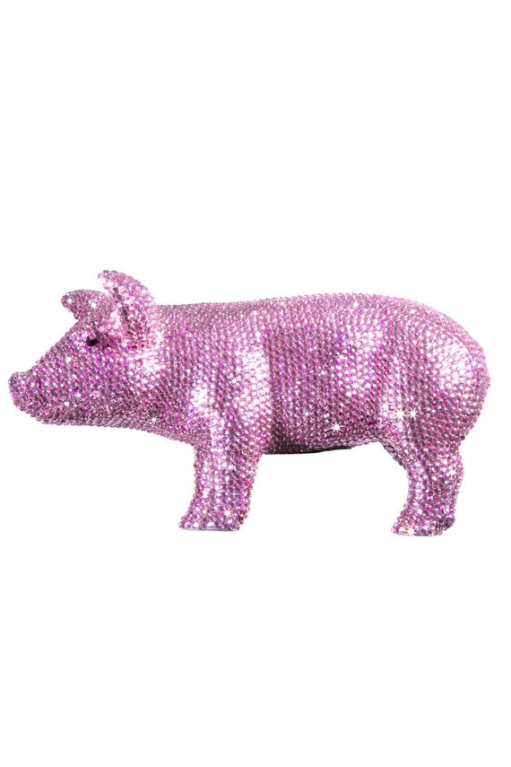 Interior illusions pink rhinestone piggy bank 12 long - Rhinestone piggy bank ...