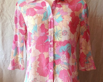 Vintage blouse, pleated Sun, sleeves to the elbows, size UK 14, USA 32 F.