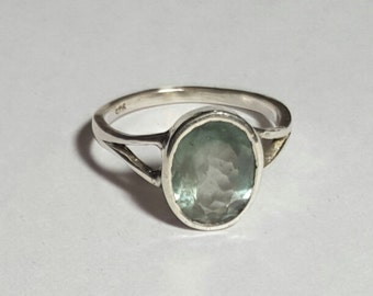 Solid 925 Sterling Silver made in Natural Faceted Aquamarine ( 12 x 9 mm Oval )Gemstone in handmade Ring ANY SIZE AVAILABLE