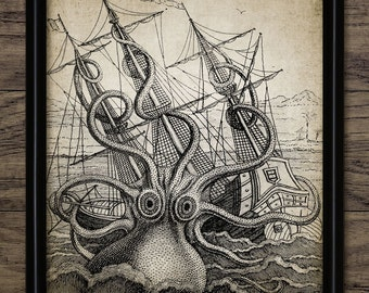Octopus Print - Octopus Poster - Octopus Illustration - Vintage Kraken  - Digital Art - Printable Art - Single Print #196 - INSTANT DOWNLOAD