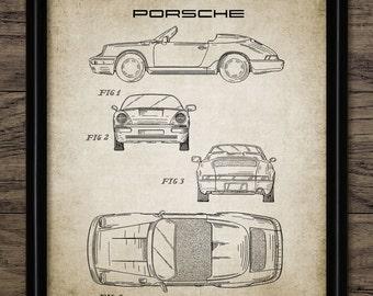 Porsche Sports Car Patent Print - 1990 German Car Design - Classic German Sports Car - Garage Machanic -Single Print #978 - INSTANT DOWNLOAD