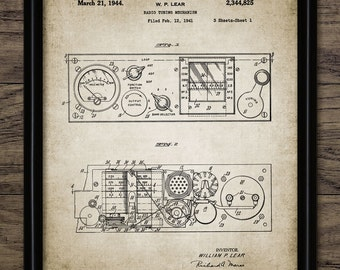 Vintage Radio Tuner Patent Print - 1944 Radio Design - Radio Receiver - Music Wall Art - Music Gift - Single Print #983 -INSTANT DOWNLOAD