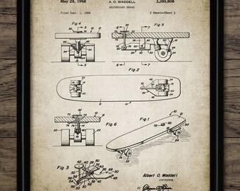 Vintage Skateboard Patent Print - 1968 Skateboard Design - Skateboarding Sport - Single Print #1033 - INSTANT DOWNLOAD