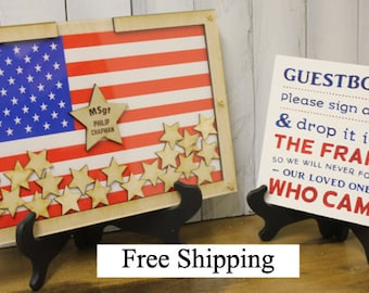 Personalized Guest Book/Flag/Patriotic/Military/Retirement/Wedding/Guest Book/Wood Shapes/Stars/Alternative/Unique/Free Shipping USA USA