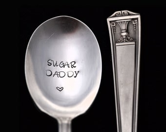 Sugar Daddy, Stamped Spoon,  Engraved Silverware, Gifts Under 15, Hostess Housewarming Gift, Personalized Flatware