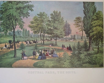 Currier & Ives Vintage Art Print New York City CENTRAL PARK the drive NYC 1800's