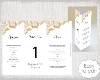 trifold wedding menu etsy. Black Bedroom Furniture Sets. Home Design Ideas