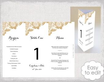 table menu template