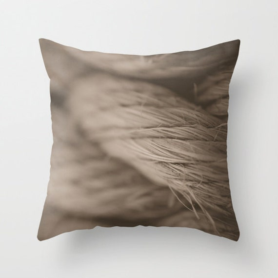 Rope Pillow Cover, Sepia Tones, Nautical Images, Throw Pillow, Decorative Pillow, Neutral Colors, Beach and Ocean, Macro Photography