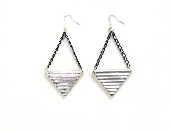 dangle triangle earrings silver resin earrings by petiteutile. Black Bedroom Furniture Sets. Home Design Ideas