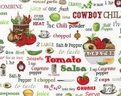 Kiss The Cook Fabric,  Robert Kaufman, AMK-16018-1-WHITE, Apron Fabric, Novelty Food Fabric, Spices, Salsa, Mexican Food, Recipes, Kitchen