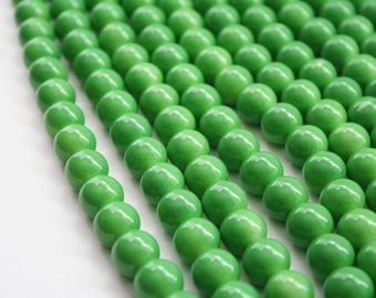 Green Glass Beads, 12mm - 32ct - D044