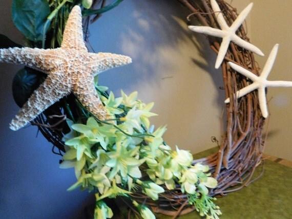 Do It Yourself Home Design: Starfish Wreath Green Floral Wreath Ocean Theme Wreath