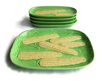 Corn Cob Dishes; Corn Dish, Corn Cob Dish, Corn On The Cob Dish, Corn Cob Serving Set, Vintage