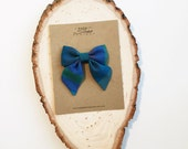 Sailor Bow - Hues of Blue Stripe Bow in Small, Medium, and Large on Clip or Elastic