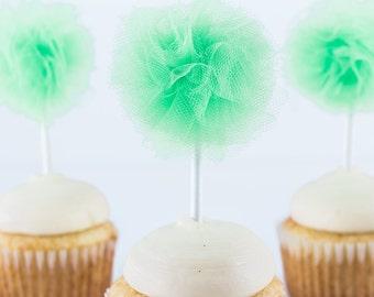 Lime Green Tulle Poms- Tulle poms- Pom poms- St. Patricks Day decor- Halloween party- Cupcake topper- Cupcake pompom