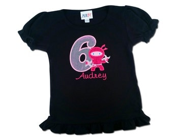 Girl Black Ninja Birthday Shirt with Number, Weapons and Embroidered Name
