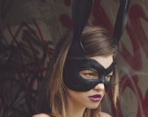 Leather Bunny Mask with Whiskers for Men and Women in Black