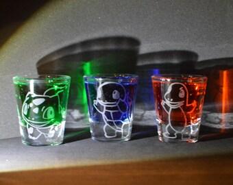 Pokemon starter etched shot glass set of 3 fan art