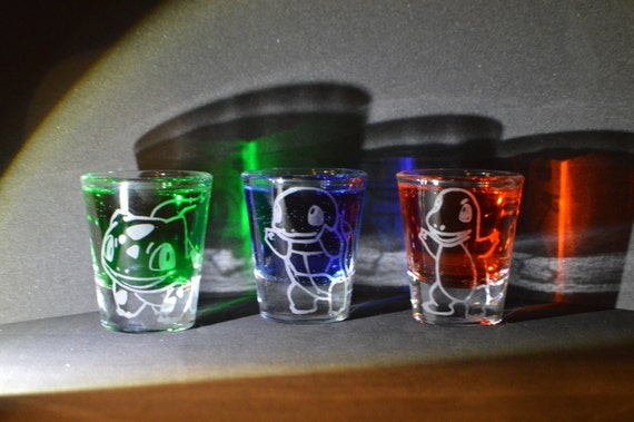 Pokemon starter etched shot glass set of 3 fan art