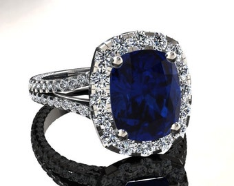 18k White Gold Diamond Halo Engagement Ring 8X10 Sapphire 1.84ct Round Natural Diamonds Wedding Anniversary Pristine Custom Rings