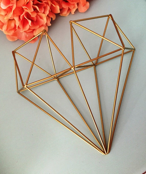geometric heart metal heart wall decor 3d any color air plant. Black Bedroom Furniture Sets. Home Design Ideas