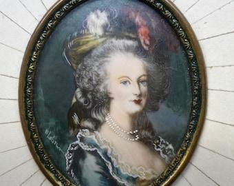 Antique Marie Antoinette Hand painting miniature Framed portrait signed