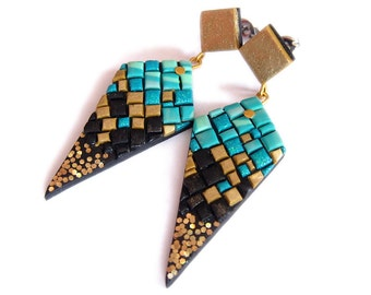 Teal Earrings, Turquoise Earrings, Gold Earrings, Shimmering Earrings, Colorful Earrings, Geometric Earrings, Unusual Jewelry, OOAK Earrings