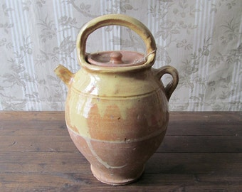 Antique French Terracotta Wine/Water Jug with Mustard/Ochre Glaze