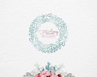 Flower Wreath logo, Pre made logo, Photography logo, any Business logo