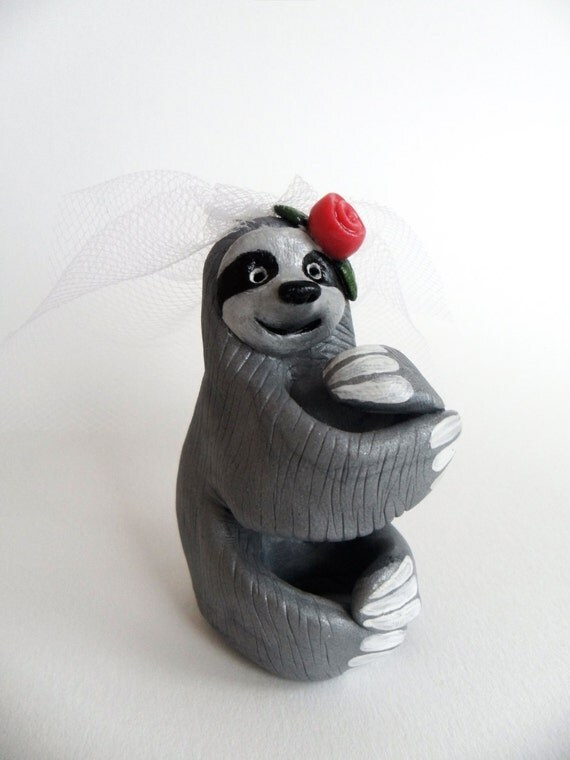 sloth wedding cake topper sloth with veil sloth cake topper polymer clay 20197