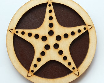 Wooden Magnet - Starfish