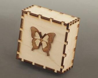Butterfly Wood Jewelry Box, Wood Trinket Box, Wood Keepsake Box
