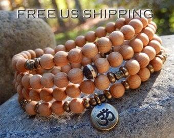 Fragrant Sandalwood Mala, Necklace, 108 Prayer Beads, Meditation, Yoga Mala, OM, Hamsa, Lotus, Buddha, Tree of Life, Reiki infused