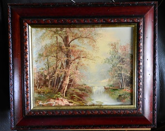 vintage oil painting on canvas  of landscape,river scene with the waterfall,signed,framed