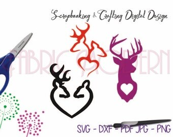 VALENTINE DEER, Silhouette svg cutting file, Crafting design file, for cutting and printing, svg, dxf,  pdf, png, jpg #C346
