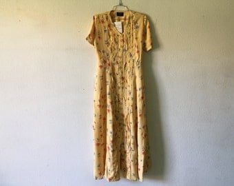 Vintage Dress - Long Maxi Grunge Floral Short Sleeve Button Front Tied at the Back