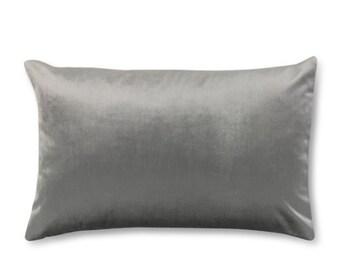 Gray Lumbar Pillow Cover- Gray Velvet Lumbar Pillow- Gray Pillow Cover- Gray Decorative Lumbar Pillow