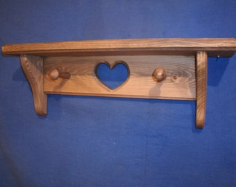 """wooden shelves, rustic wooden shelves, wood sheves, wooden wall shelves, wooden wall decor wooden shelf, 16"""" with heart/ pegs walnut stain"""
