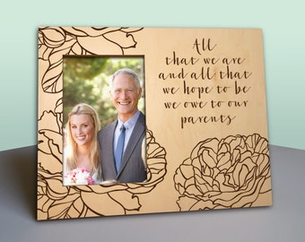 Parent Thank You Wedding Gift - Picture Frame - Rustic Wood Photo Frame Personalized - In Law Gift - Parents Thank You Gift -PF1204