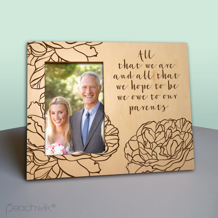 Parent Thank You Wedding Gift Picture Frame Rustic Wood