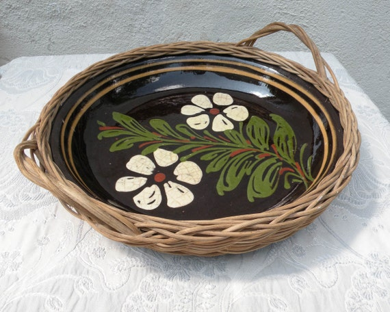 French vintage stoneware dish, rustic dish, French vintage basket, rustic, country home, French farmhouse, country home, Alsace dish