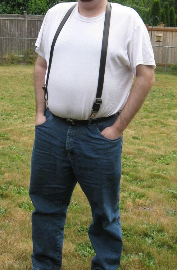 "Handmade Black Leather Fully Adjustable Suspenders - 1"" Wide"